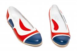 Pantofi balerini dama  - Balerini dama piele 026.3 corai blu alb 34-41