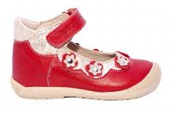 Pantofi balerini copii  - Balerini fete inalt pe glezna hokide 401 rosu bej 18-24