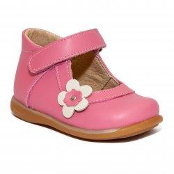 Pantofi balerini copii  - Balerini fete inalti pe glezna 746 roz alb 18-25
