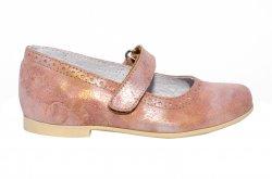 Pantofi balerini copii  - Balerini fete piele naturala hokide 421 roz flori 26-35