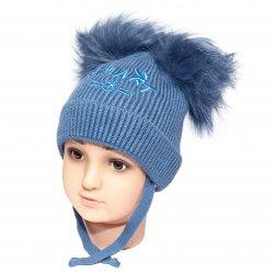 Caciuli fesuri cagule groase copii  - Caciuli baieti groase de iarna ciucuri 1806 albastru 6luni-2ani