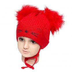 Caciuli fesuri cagule groase copii  - Caciuli fete groase de iarna ciucuri 1806 roz pal 6luni-2ani