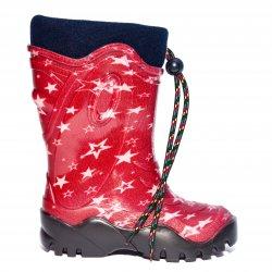 Cizme cauciuc copii  -  Cizme cauciuc copii de zapada cu blana de iarna 4 rosu stelute 24-39