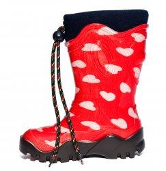 Cizme cauciuc copii  - Cizme fete cauciuc de zapada cu blana de iarna 4 rosu inimioare 24-39