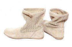 Sandale copii  - Cizme fete perforate pj shoes Isabel bej