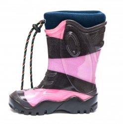 Cizme cauciuc copii  - Cizmulite fete cauciuc cu blana iarna 4 negru roz mov 26-36