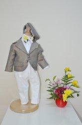 Costume botez baieti  - Costum baieti botez colibri 2003 gri ivoar 3luni-7ani
