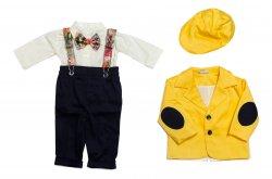 Costume botez baieti  - Costum botez baieti Catalin galben blu 3luni-9luni