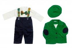 Costume botez baieti  - Costume botez baieti Catalin verde blu 3luni-9luni