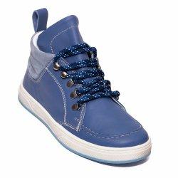 Ghete copii  - Ghete baieti din piele naturala pj shoes Mateo maro blu 27-36