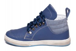 Ghete copii  - Ghete baieti din piele pj shoes Mateo albastru siret 27-36