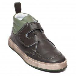 Ghete copii  - Ghete baieti din piele pj shoes Mateo gri kaki arici 27-36