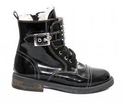 Ghete blana copii  - Ghete blana fete pj shoes Army negru lac 31-36