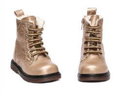 Ghete blana copii  - Ghete fete blana pj shoes King auriu 20-26