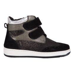 Ghete blana copii  - Ghete fete cu blanita pj shoes Mae vernil negru 27-36