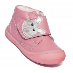 Ghete blana copii  - Ghete flexibile fete vatuite pj shoes Teddy roz 20-26