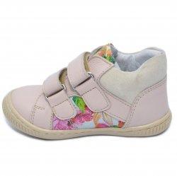 Ghete copii  - Ghetute fete flexibile cu talonet hokide 442 roz flori 18-25
