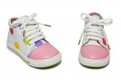 Ghete copii  - Ghetute fete piele avus 764 alb roz buline 19-26