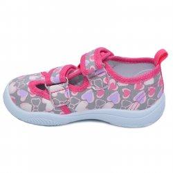 Tenisi copii  - Incaltaminte fete cu brant din piele picior lat 20-005 grey 20-25