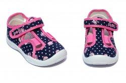 Tenisi copii  - Incaltaminte fete cu gaurele padini cu brant din piele 18007 blu roz 20-31