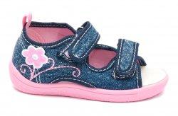 Tenisi copii  - Incaltaminte fete flexibila cu brant din piele 1109 jeans roz 20-25