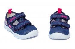 Tenisi copii  - Incaltaminte fete textil gaurele cu brant din piele 18008 blu 20-31