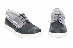 Pantofi copii  - Mocasini baieti piele hokide 408 blu gri 26-37