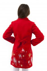 Paltoane-sacouri copii  - Paltone fete brodate Delia rosu 3luni-12ani