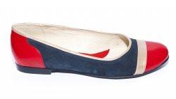 Pantofi balerini dama  - Pantofi balerini dama piele 026.4 rosu bej blu 34-41