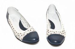 Pantofi balerini dama  - Pantofi balerini dama perforati laser 026 blu alb 34-41
