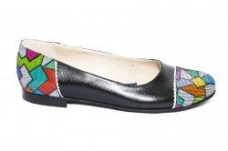 Pantofi balerini dama  - Pantofi balerini dama piele 026A negru pazel 34-41