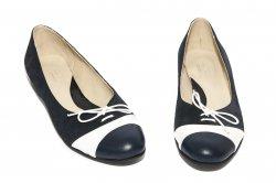 Pantofi balerini dama  - Pantofi balerini dama piele 026 siret blu alb 34-41