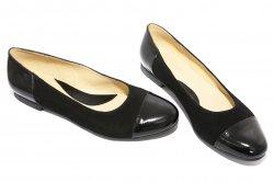 Pantofi balerini dama  - Pantofi balerini dama piele intoarsa 26 negru lac 34-41