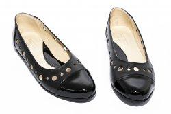 Pantofi balerini dama  - Pantofi balerini dama 026 negru box lac perforat