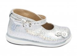Pantofi balerini copii  - Pantofi balerini fete inalt pe glezna 185 arg lux 18-25