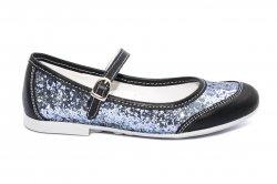 Pantofi balerini copii  - Pantofi balerini fete scoala hokide 383 negru gliter 26-35