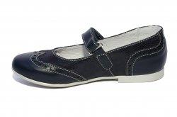 Pantofi balerini copii  - Pantofi balerini fete scoala hokide 419 blu lux 26-35