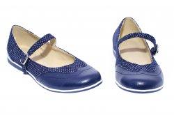 Pantofi balerini copii  - Pantofi balerini fete scoala piele 1327 blu lux 26-36