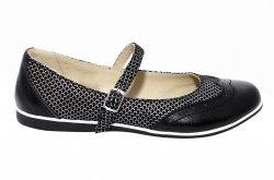 Pantofi balerini copii  - Pantofi balerini fete scoala piele 1327 negru lux 26-36