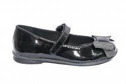 Pantofi balerini copii  - Pantofi balerini fete scoala pj shoes Lia negru pipit 27-36