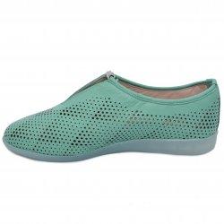 Pantofi dama   - Pantofi dama piele perforati cu laser 1223 verde 35-41