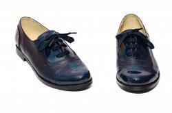 Pantofi copii  - Pantofi fete eleganti scoala piele naturala 026s1 blu lac 34-41