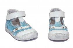 Pantofi balerini copii  - Pantofi fete hokide 403 alb azur 18-25