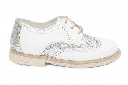 Pantofi copii  - Pantofi fete hokide piele 404 alb gliter 26-37