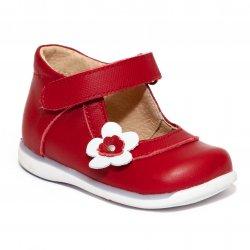 Pantofi balerini copii  - Pantofi fete inalti pe glezna 746 rosu alb 18-25