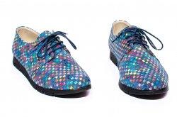 Pantofi copii  - Pantofi fete piele 026s2 albastru sah 34-41