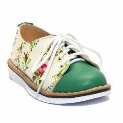Pantofi copii  - Pantofi fete piele DM 1399 alb verde flori 19-25