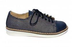 Pantofi copii  - Pantofi fete piele naturala 1384 blu arg 26-36