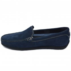 Pantofi barbati  - Pantofi mocasini barbati din piele intoarsa MC01 blu 39-46