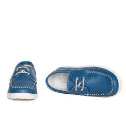 Pantofi copii  - Pantofi mocasini copii piele pj shoes Jose albastru bej 27-36